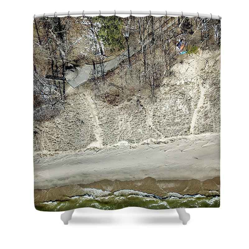 Above Shower Curtain featuring the photograph High Above The Coast by Anton Shelepov