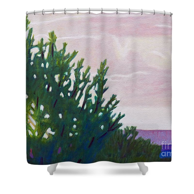 Landscape Shower Curtain featuring the painting High Desert Glow by Brian Commerford
