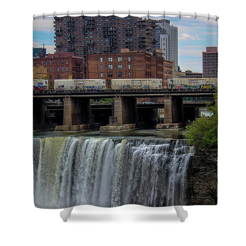 High Falls Shower Curtain featuring the photograph High Falls, Rochester by Jesse Cuddahee