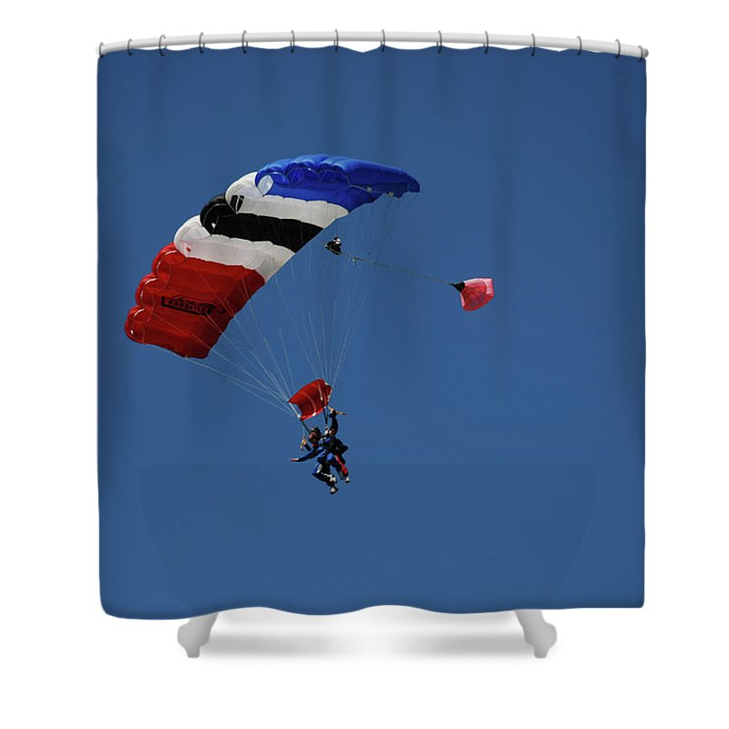 Skydiving Shower Curtain featuring the photograph High Flyers 3 by Carol Eliassen
