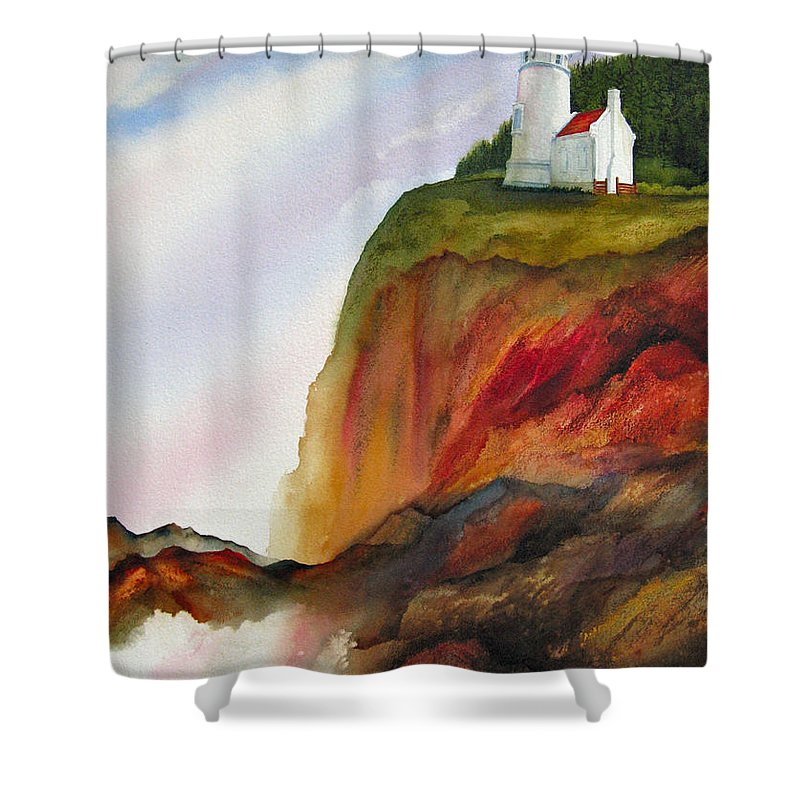 Coastal Shower Curtain featuring the painting High Ground by Karen Stark