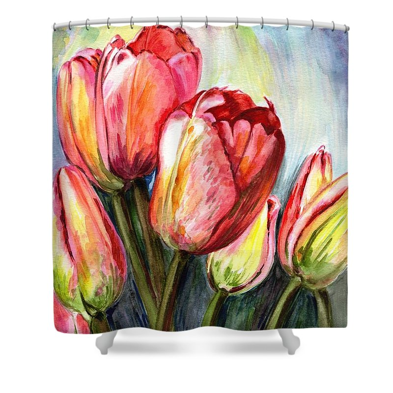 Tulips Shower Curtain featuring the painting High In The Sky by Harsh Malik