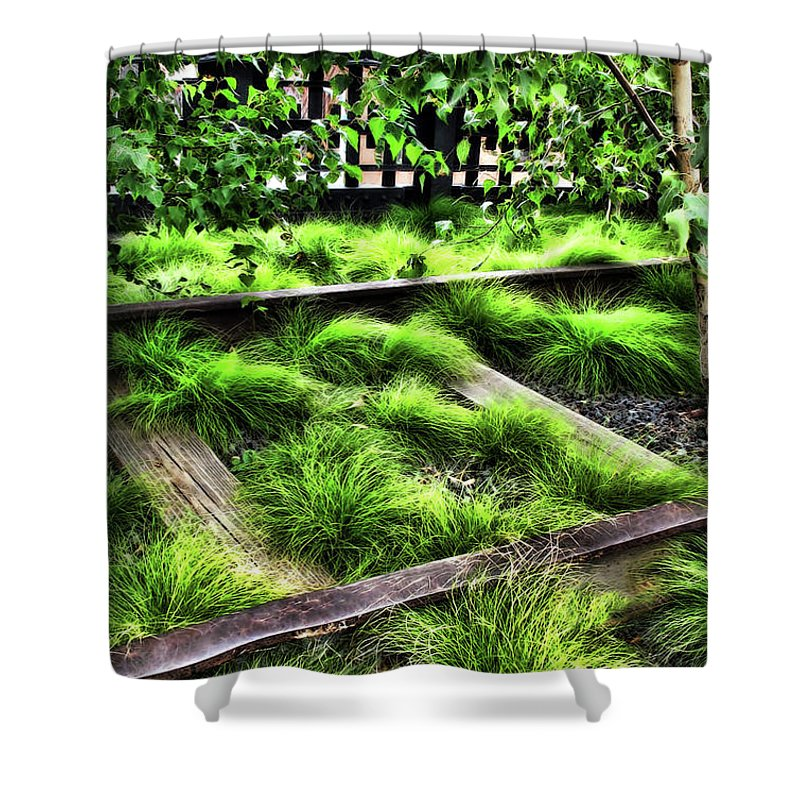 Botanical Shower Curtain featuring the digital art High Line Nyc Railroad Tracks by Joan Minchak