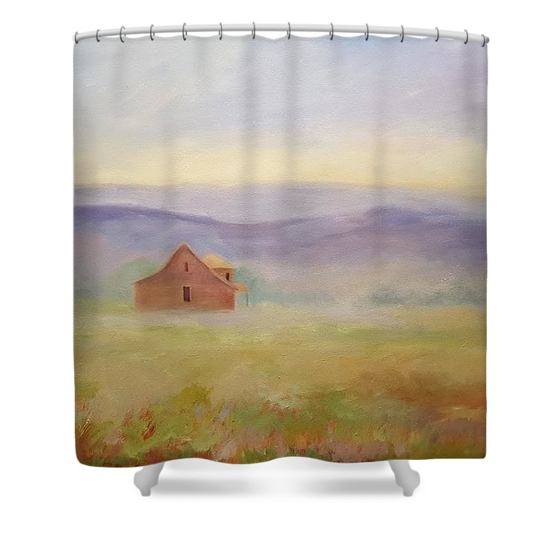 Old House In Landscape Shower Curtain featuring the painting High Lonesome by Ginger Concepcion