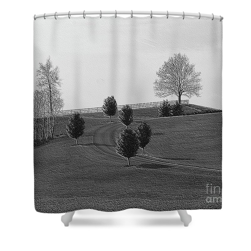 Country Shower Curtain featuring the photograph High On A Hill by Kathleen Struckle