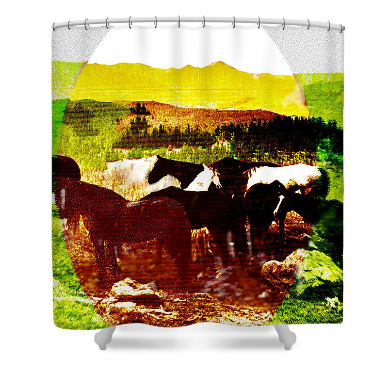 Mustangs Shower Curtain featuring the digital art High Plains Horses by Seth Weaver