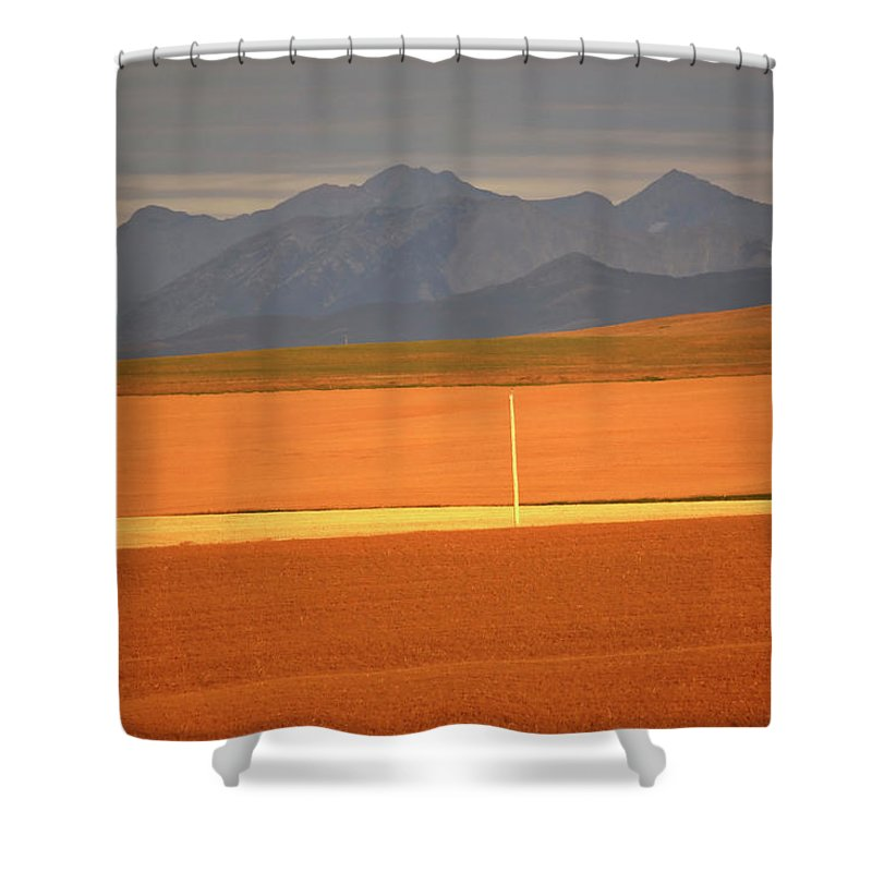 Sunlit Shower Curtain featuring the digital art High Plains Of Alberta With Rocky Mountains In Distance by Mark Duffy