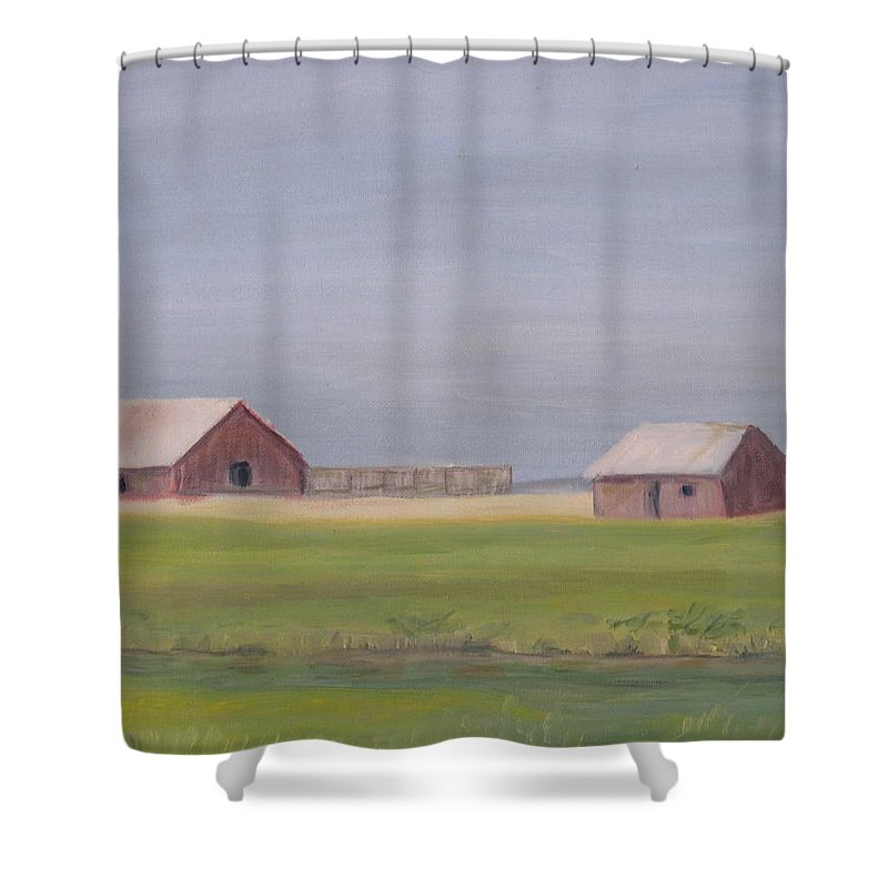 Landscape Plains Barn Shower Curtain featuring the painting High Plains by Patricia Caldwell