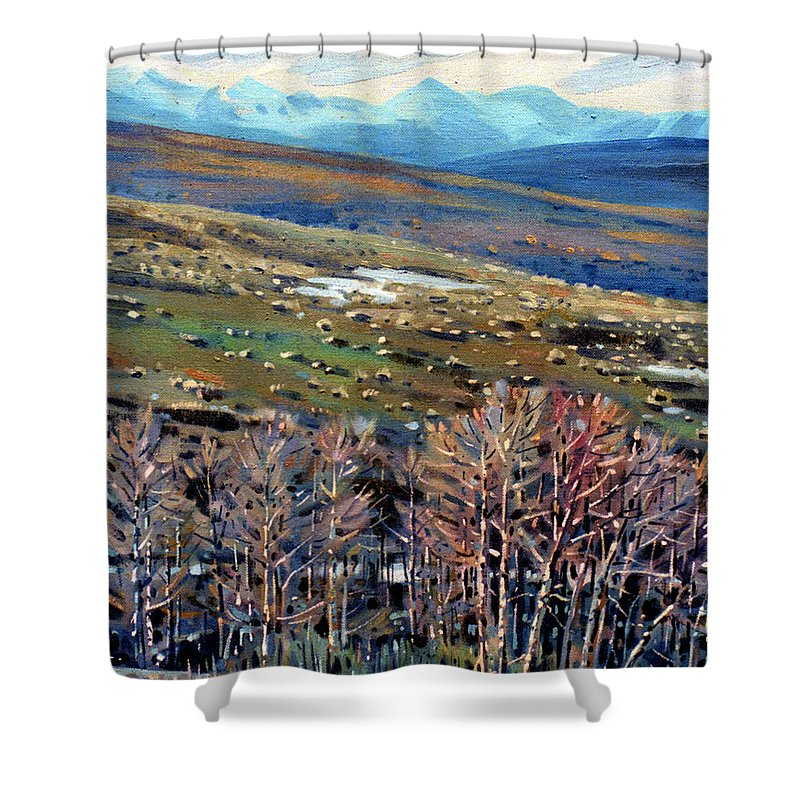 High Sierra Shower Curtain featuring the painting High Sierra by Donald Maier
