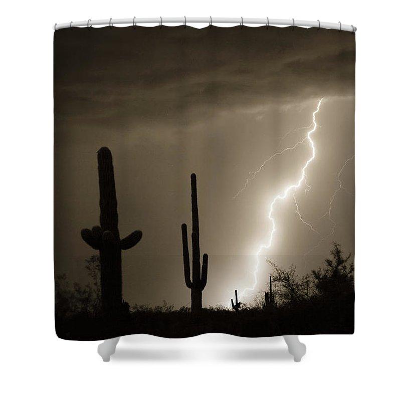 Lightning Shower Curtain featuring the photograph High Southwest Desert Lightning Strike by James BO Insogna