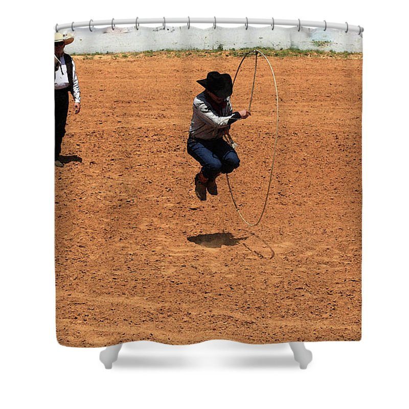 Western Art Shower Curtain featuring the photograph High Steppin Cowboy by Kim Henderson
