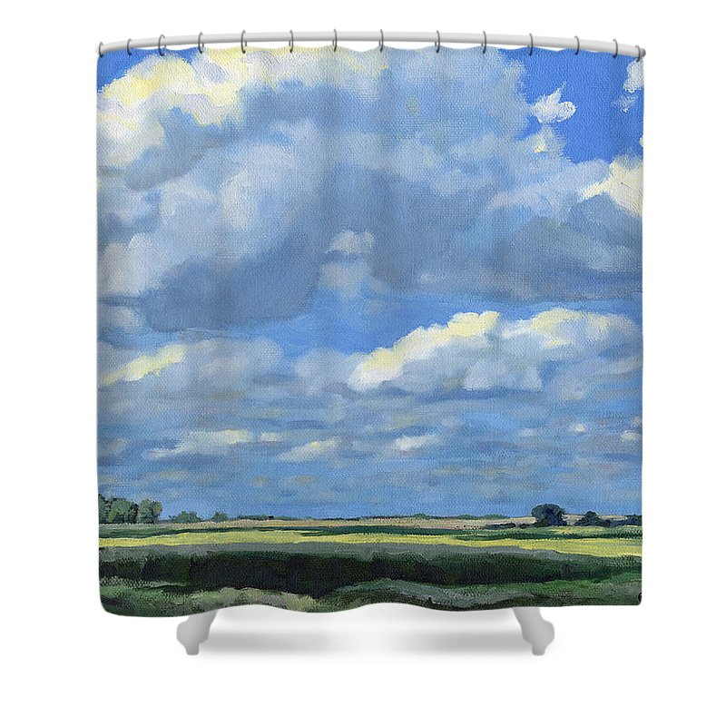 Landscape Shower Curtain featuring the painting High Summer by Bruce Morrison