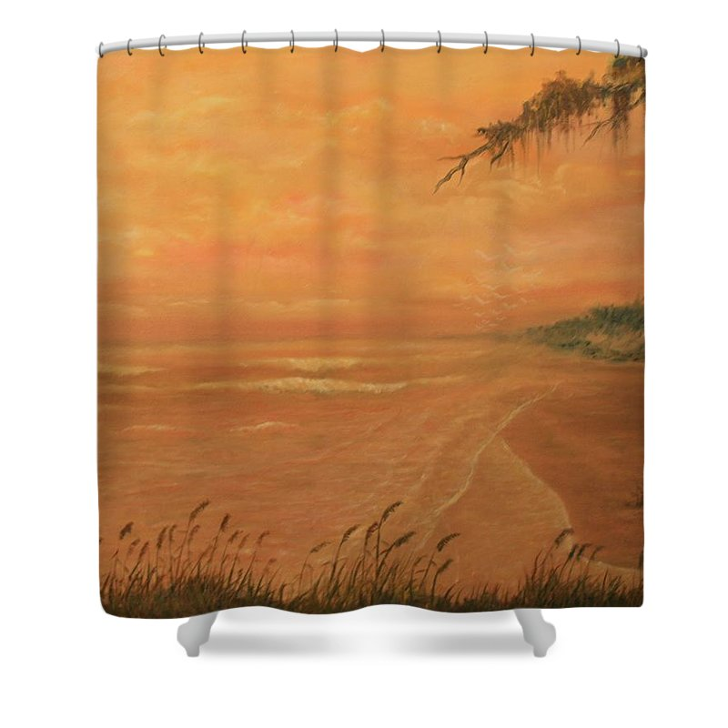 Beach; Ocean; Palm Trees; Water Shower Curtain featuring the painting High Tide by Ben Kiger