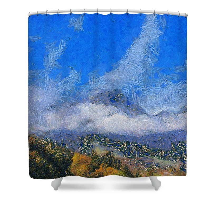 Mountain Peak Shower Curtain featuring the photograph High Winds And Clouds by Ashish Agarwal