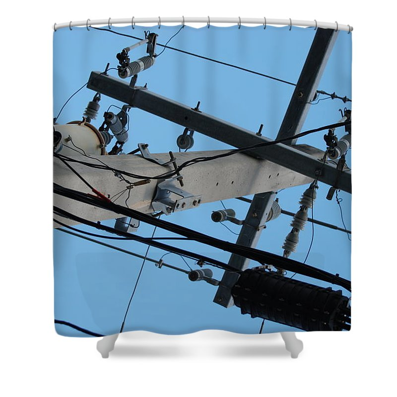 Sky Shower Curtain featuring the photograph High Wire by Rob Hans