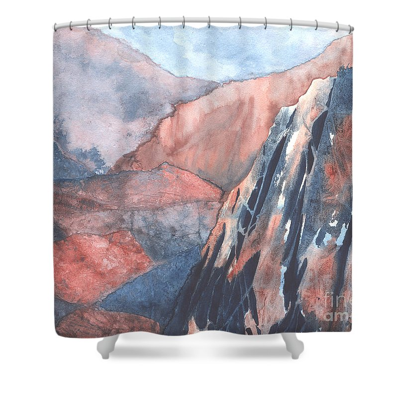 Landscape Shower Curtain featuring the painting Higher Ground by Lynn Quinn
