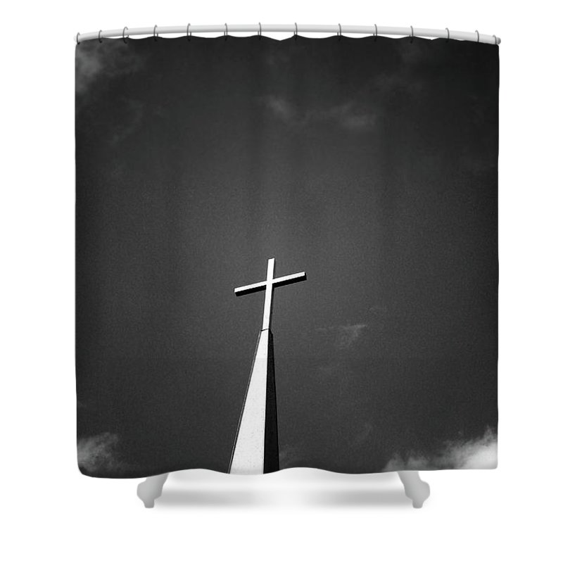 Church Shower Curtain featuring the photograph Higher To Heaven - Black And White Photography By Linda Woods by Linda Woods