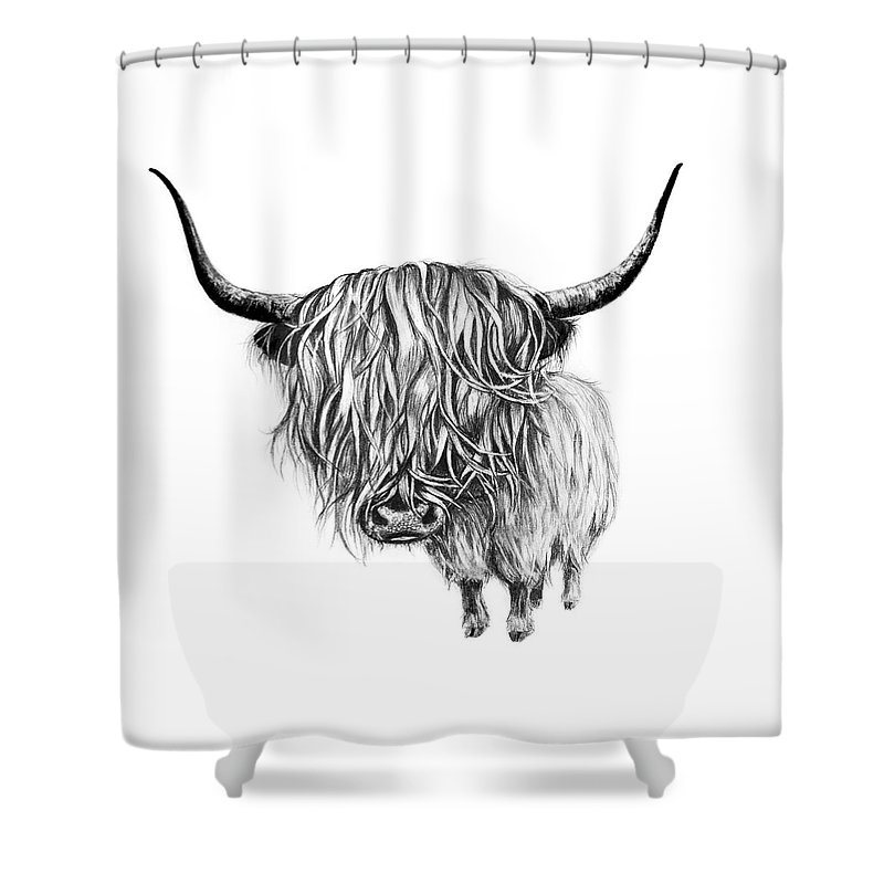 Highlandcow Shower Curtain Featuring The Drawing Highland Cow By Gosia Wichrowska