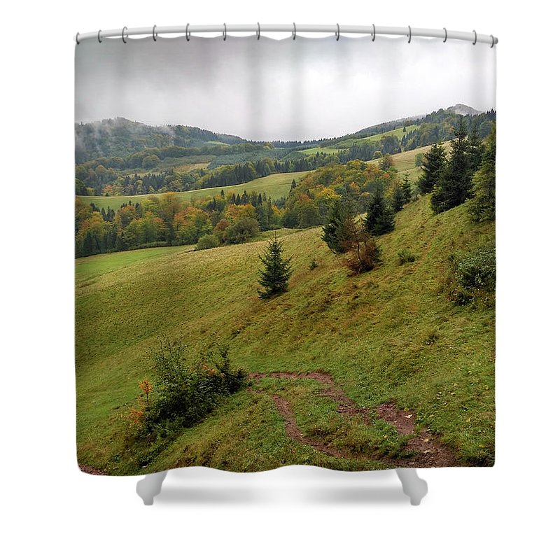 Pieniny Shower Curtain featuring the photograph Highlands Landscape In Pieniny by Arletta Cwalina