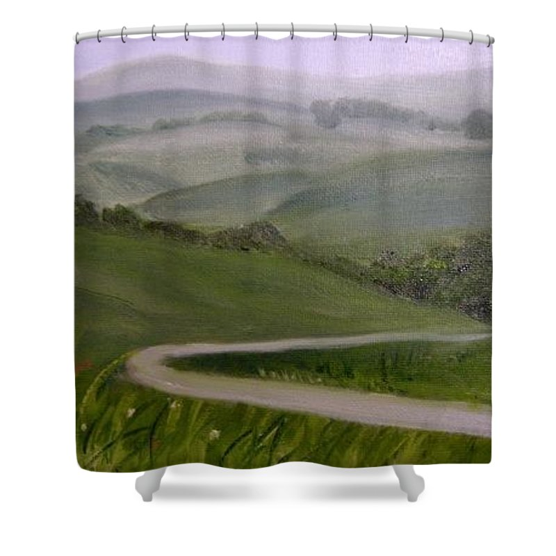 Pathway Shower Curtain featuring the painting Highway Into The Hills by Toni Berry