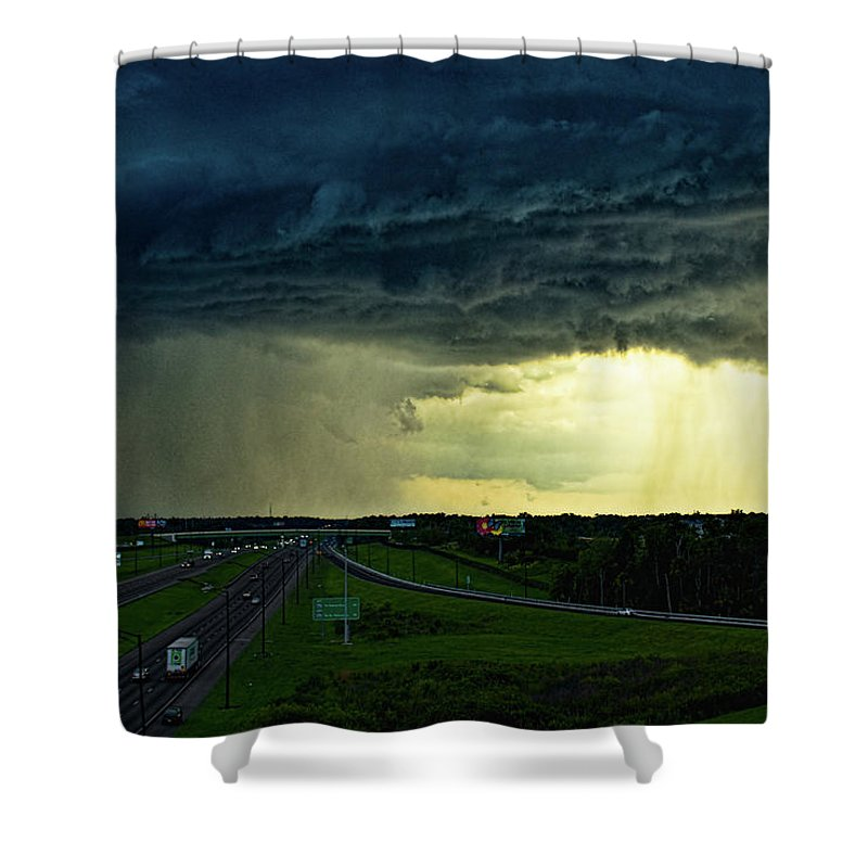 Florida Shower Curtain featuring the photograph Highway Into The Storm by Christopher Holmes