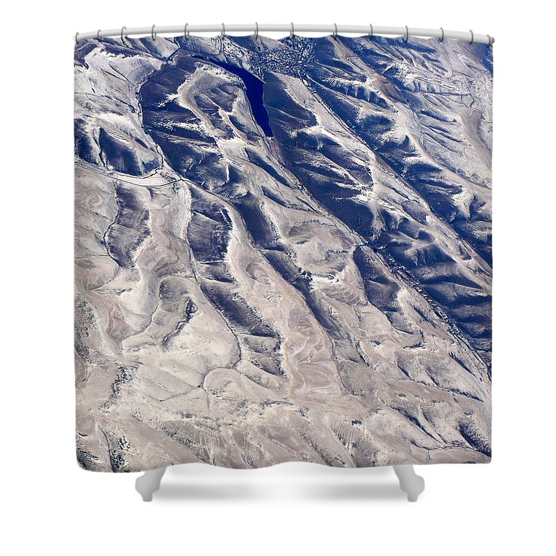 Aerial Shower Curtain featuring the photograph Hills And Valleys Aerial by Carol Groenen