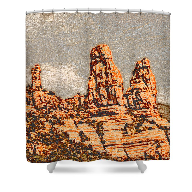 Altered Photography Shower Curtain featuring the photograph Hills In Sedona by Wayne Potrafka