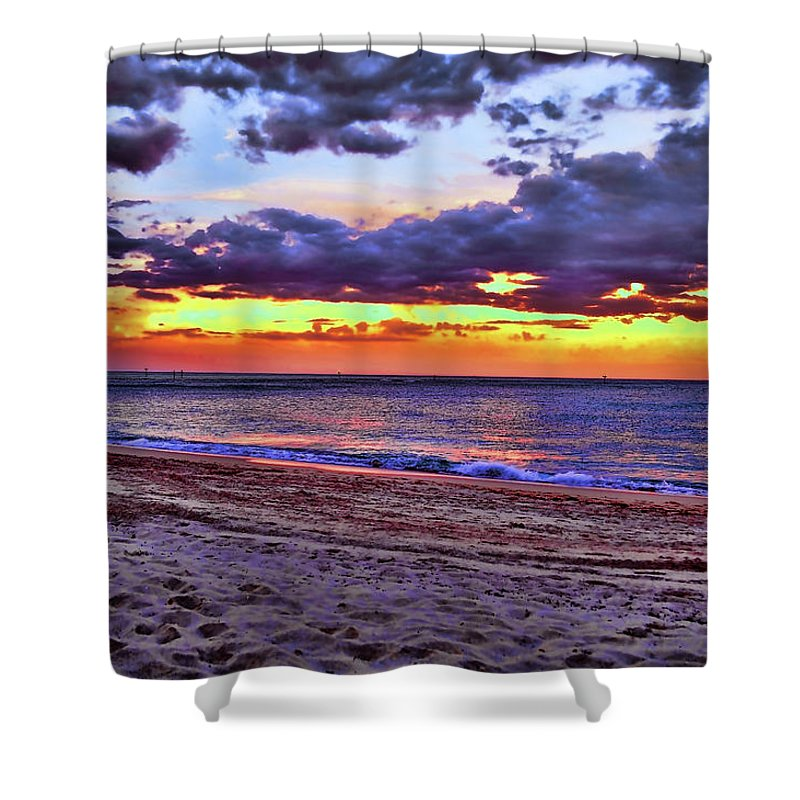Delray Shower Curtain featuring the photograph Hillsboro Beach Orange Sunset Hdr by Ken Figurski