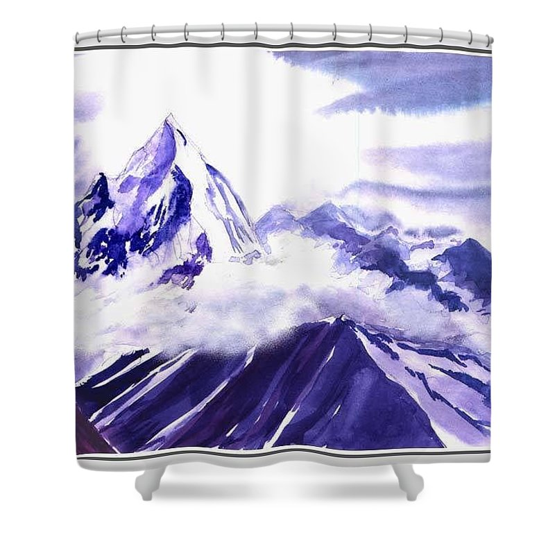 Landscape Shower Curtain featuring the painting Himalaya by Anil Nene