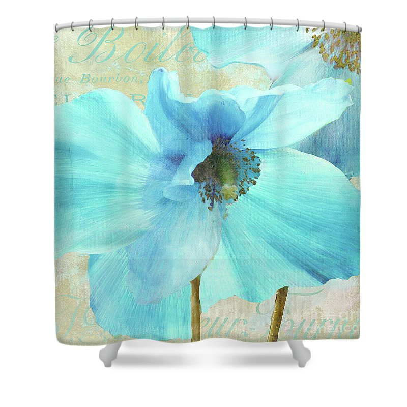 Himalayan Blue Poppy Shower Curtain Featuring The Painting By Mindy Sommers
