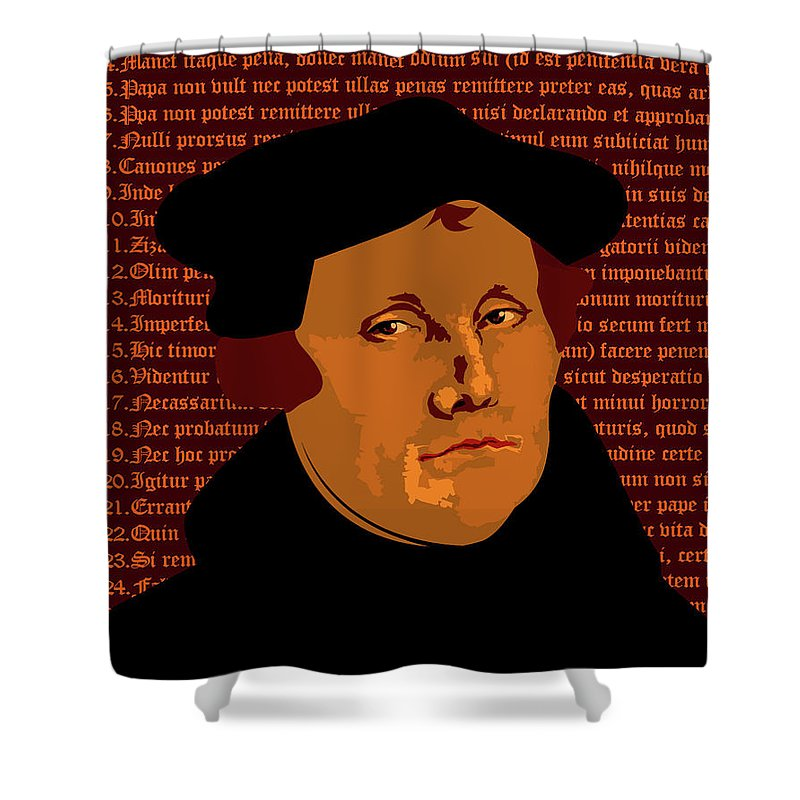 Luther Shower Curtain featuring the mixed media Himself by Asbjorn Lonvig