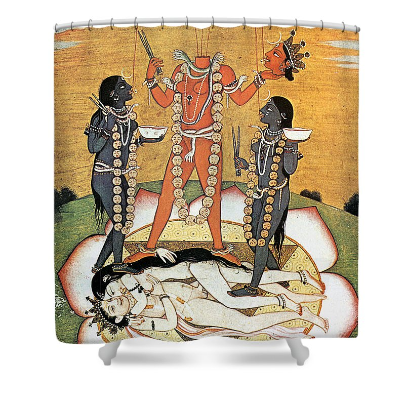 Shower Curtain featuring the painting Hindu Goddess: Kali by Granger