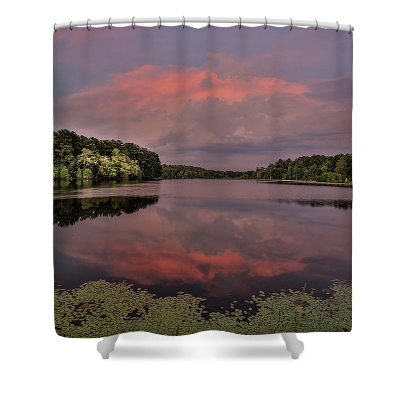 Rockingham Shower Curtain featuring the photograph Hinson Lake Clouds by Jimmy McDonald