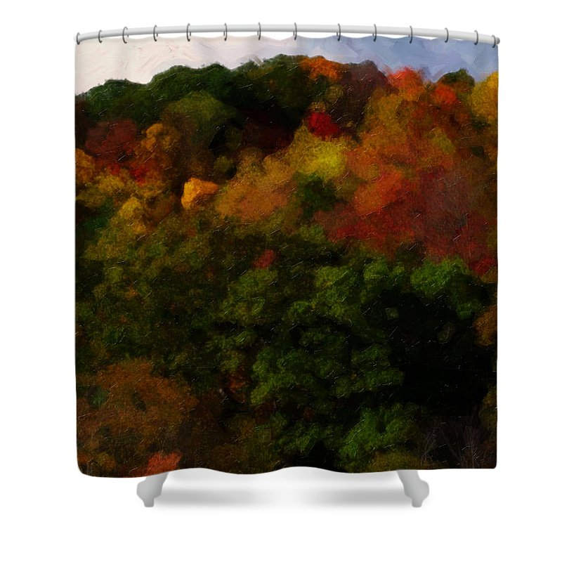 Fall Shower Curtain featuring the painting Hint Of Fall Color Painting by Teresa Mucha