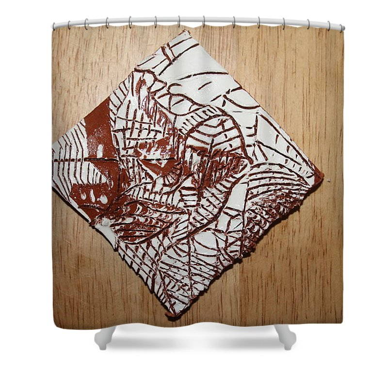 Jesus Shower Curtain featuring the ceramic art Hints Of Life - Tile by Gloria Ssali