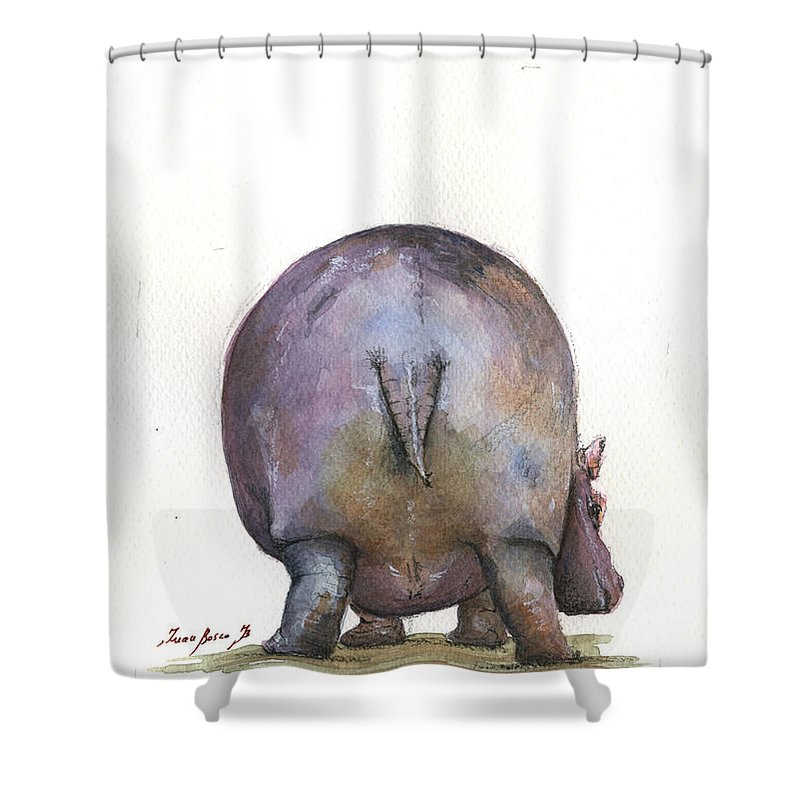 Hippo Art Shower Curtain Featuring The Painting Back By Juan Bosco