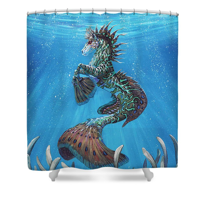 Seahorse Shower Curtain featuring the painting Hippocampus by Stanley Morrison