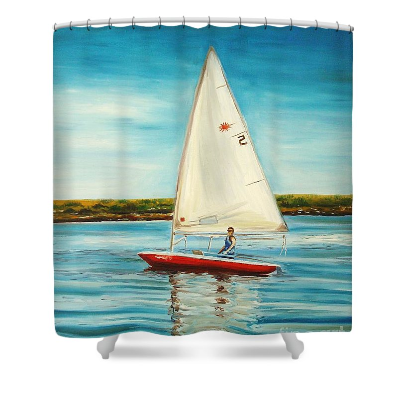 Water Shower Curtain featuring the painting His Laser by Elizabeth Robinette Tyndall
