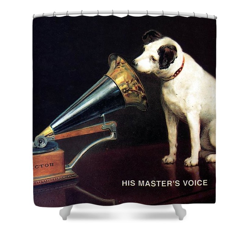 His Master's Voice Shower Curtain featuring the mixed media His Master's Voice - Hmv - Dog And Gramophone - Vintage Advertising Poster by Studio Grafiikka
