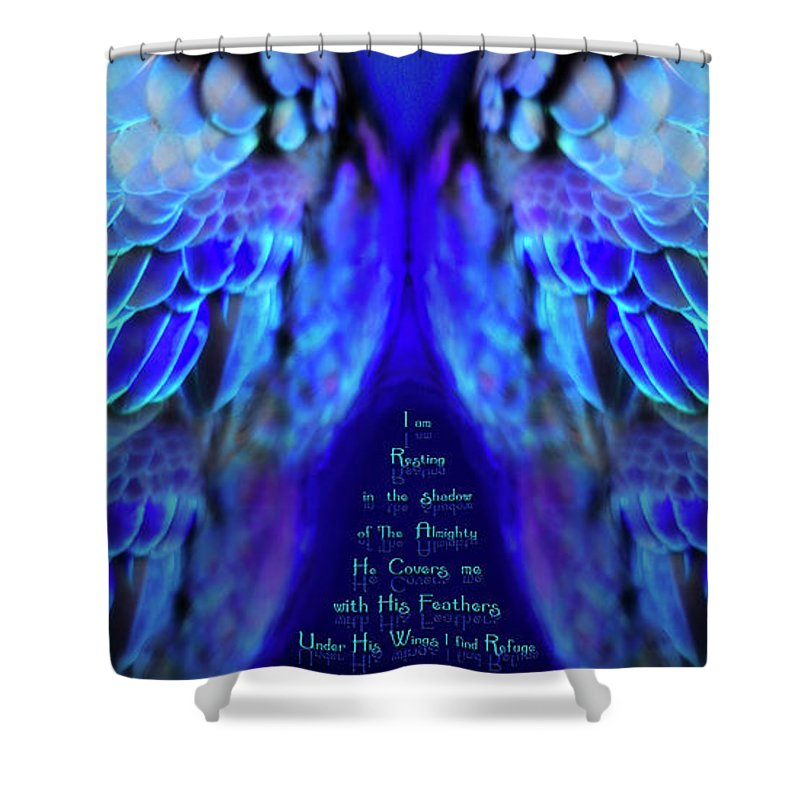 Wings Shower Curtain featuring the mixed media Beneath His Wings 2 by Constance Woods