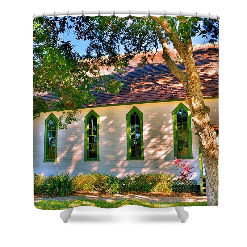 Shower Curtain featuring the photograph Historic Andrews Memorial Chapel Dunedin Florida 3 by Lisa Wooten