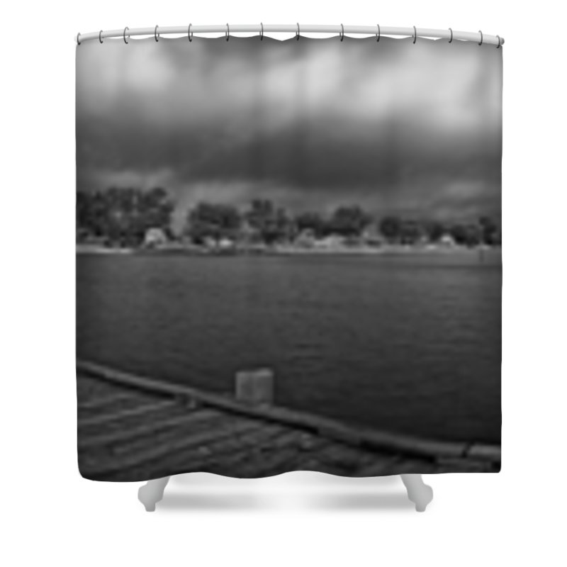Panorama Shower Curtain featuring the photograph Historic Anna Maria City Pier In Infrared by Rolf Bertram