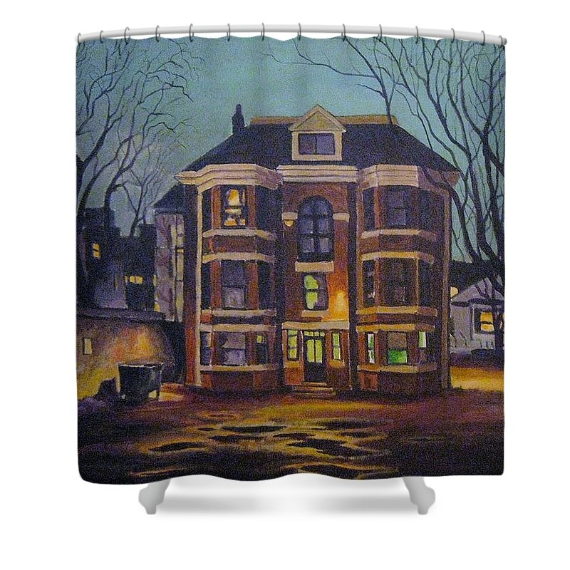 Moody Shower Curtain featuring the painting Historic Property South End Haifax by John Malone