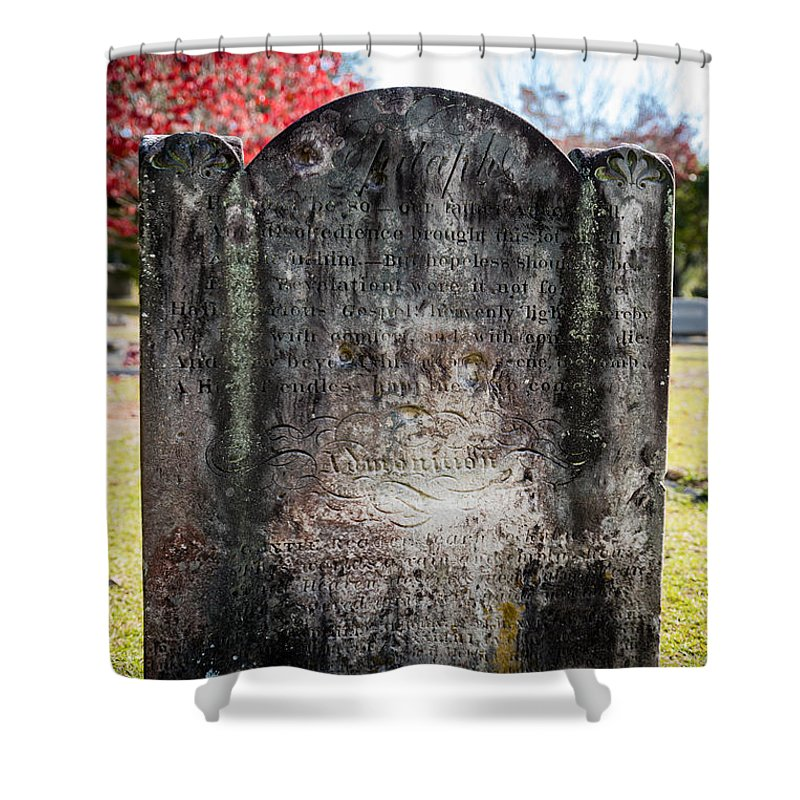 Cemetery; Church; Gravestone; Religious Buildings; Church; Close-up; Old; Outdoor; Photograph; Solitude; Tombstone; Old Quaker Cemetery; Camden; South Carolina; Kershaw County; 1730; South Carolina; Notable; Gravesites; Famous People; Civil War; Confederate Army; Generals; Medal Of Honor Recipients; South Carolina Governor Shower Curtain featuring the photograph Historic Stone - Quaker Cemetery by Alicia Collins