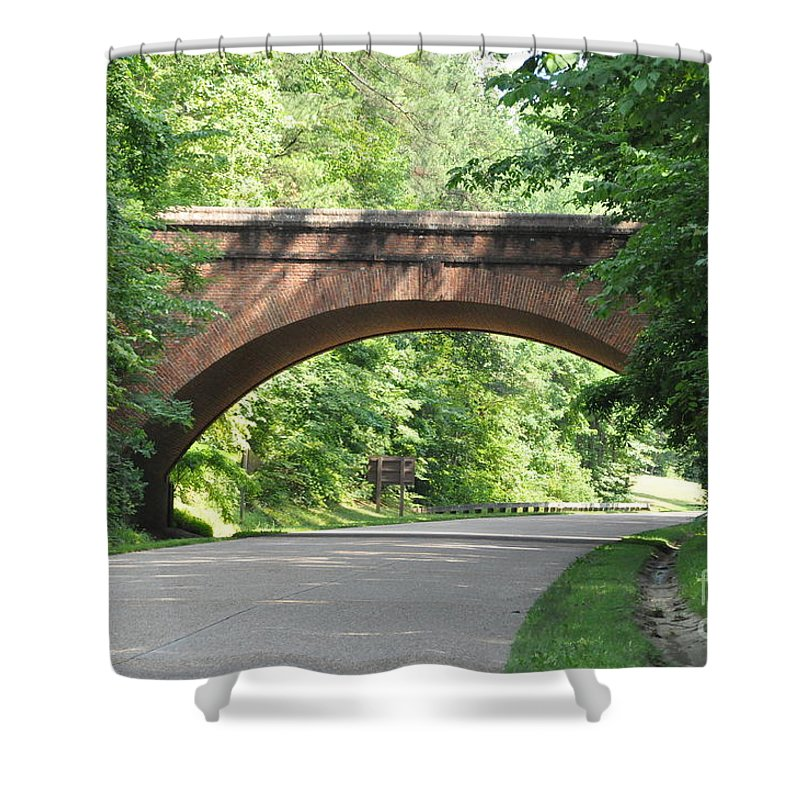 Arch Bridge Shower Curtain featuring the photograph Historical Stone Arched Bridge by John Black