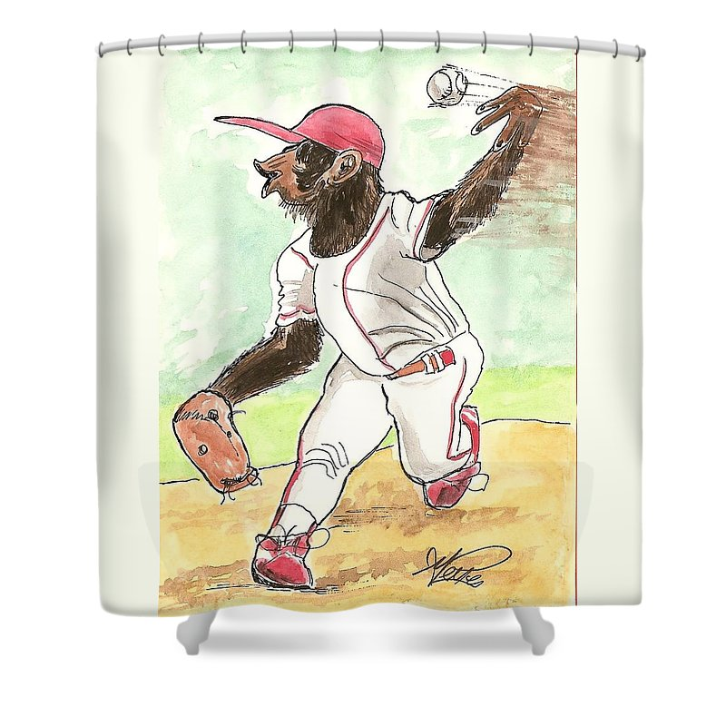 Baseball Shower Curtain featuring the drawing Hit This by George I Perez