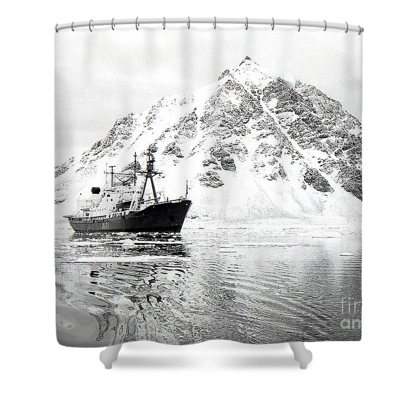 Antarctic Shower Curtain featuring the photograph Hms Endurance Antarctic Ice Patrol Ship by Wilf Doyle