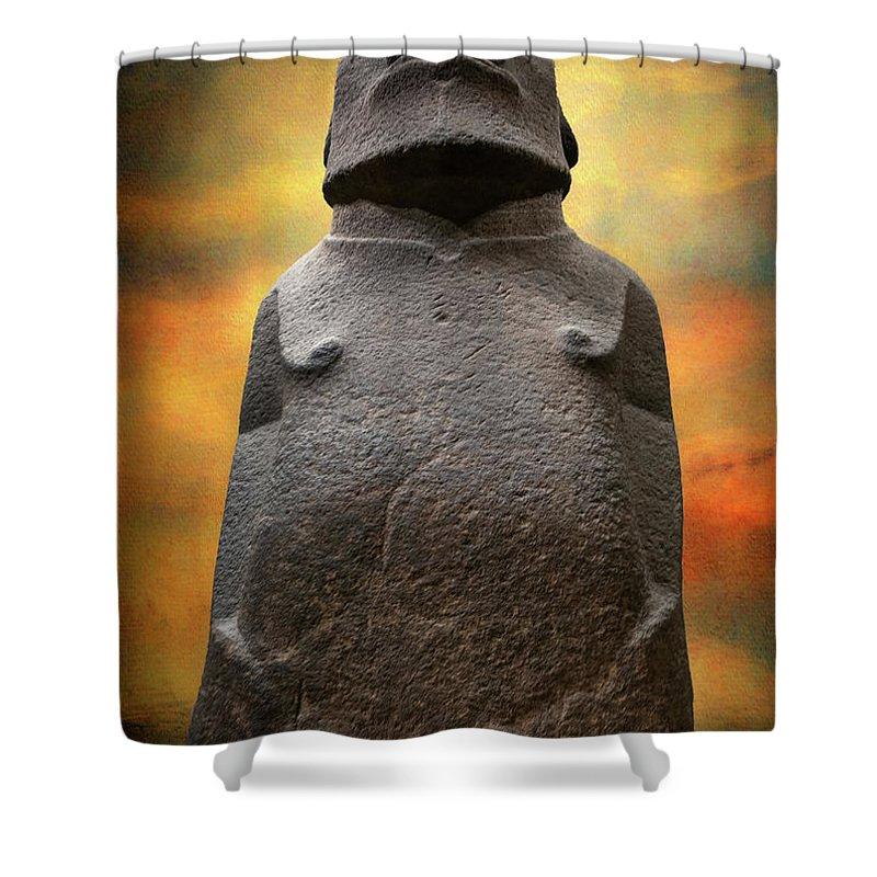 Easter Island Moai Shower Curtain featuring the photograph Hoa Hakananaia by Adrian Evans
