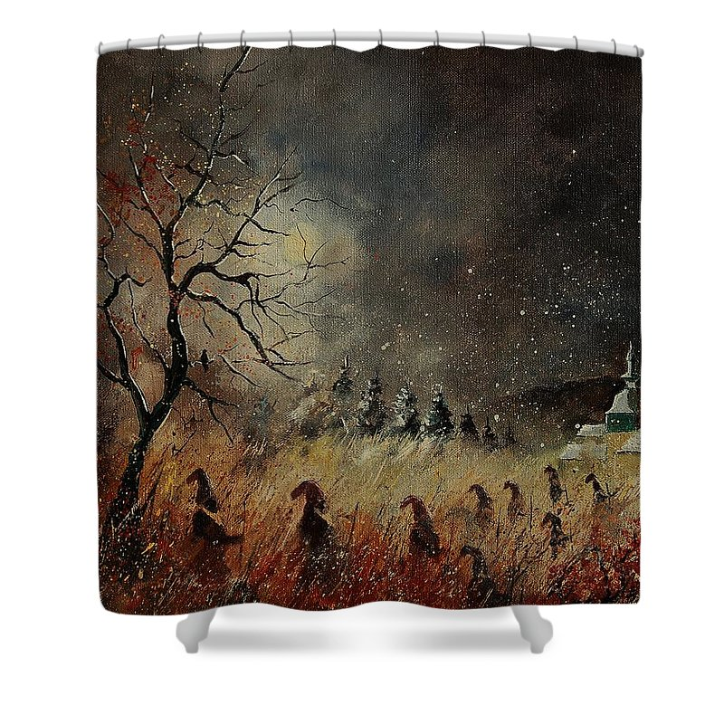 Phantasy Shower Curtain featuring the painting Hobglobins At Night by Pol Ledent