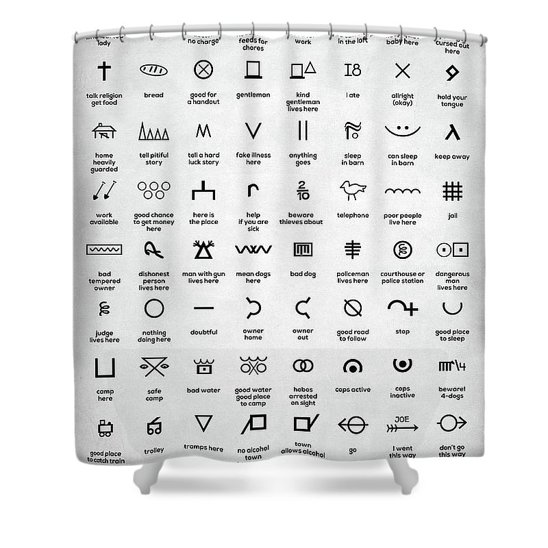Hobo Symbols Shower Curtain For Sale By Zapista
